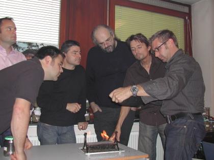 Bei der Röstkontrolle  Th.Eckel, R.Gießelmann, V.Hofer, H.Nimmervoll, M.Schnibbe, Th.Dinzenhofer
