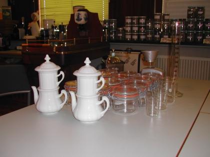 Vorbereitung für die Zubereitung der Kaffee-Proben