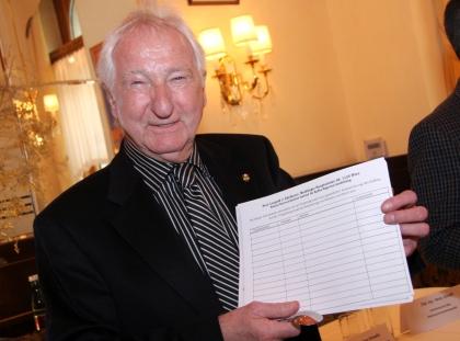 Prof. Leopold J. Edelbauer mit einer Unterschriften-Liste