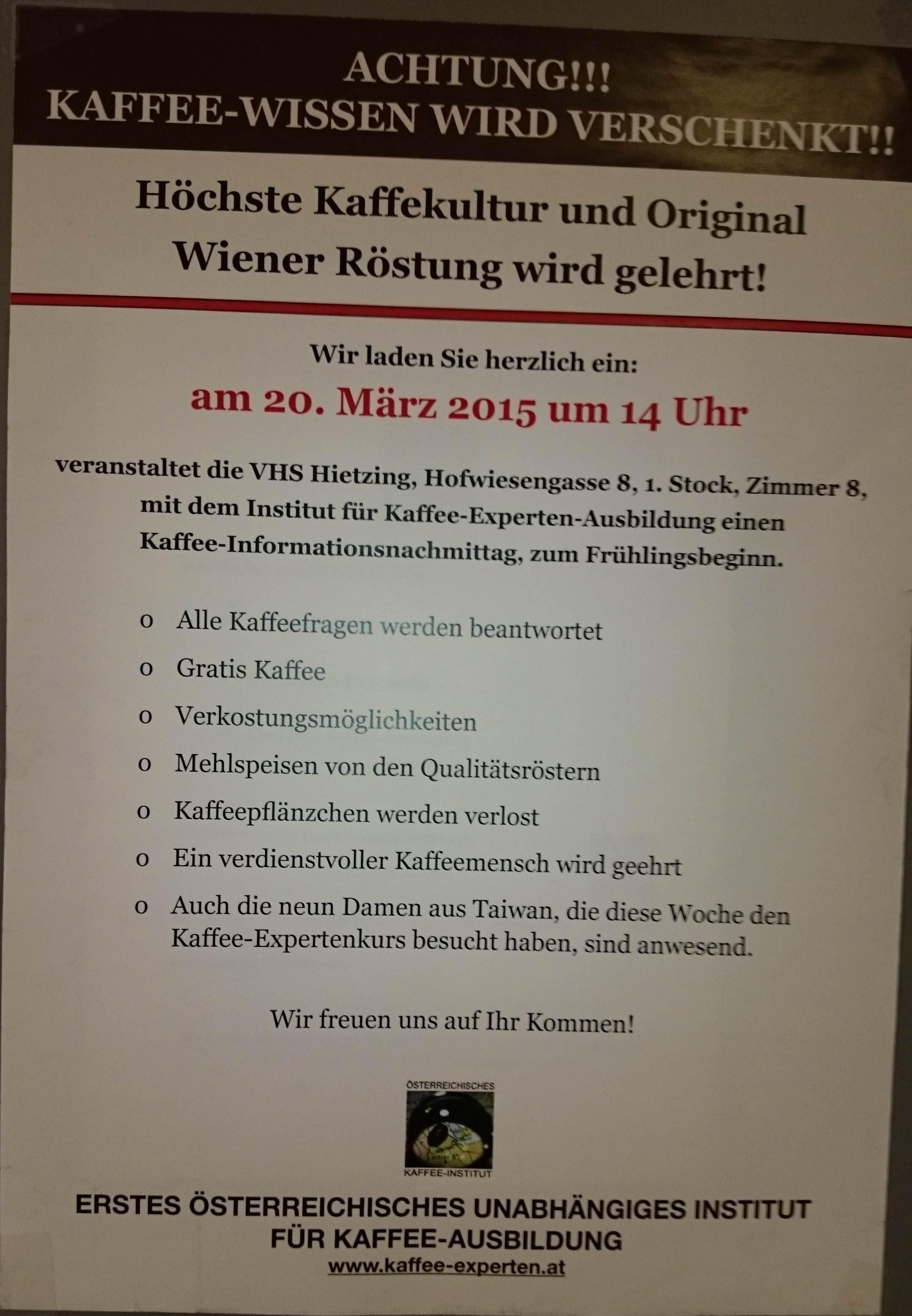 Zum Frühlingsbeginn fand am 20. März 2015 ab 14 Uhr ein Kaffee-Informationsnachmittag in der VHS Hietzing statt.